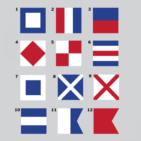 Här är 12 olika klassiska signalflaggor att välja mellan.