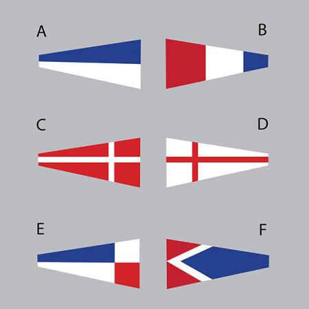 Några av alla olika vimplar/flaggor du kan välja mellan.