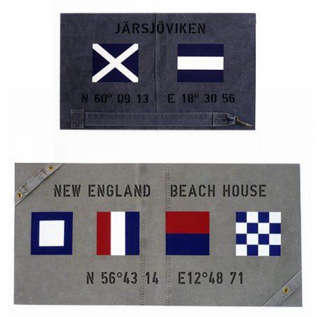Tavlor i olika format med varierande signalflaggor och texter.