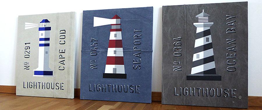 Lighthouse family, en serie marina tavlor med handmålade fyrar.
