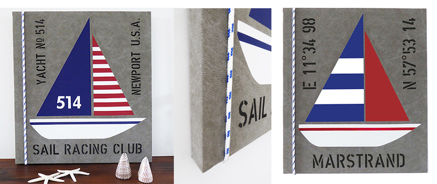 Marina tavlor med segelbåtar och riktig tross med inspiration från New England.
