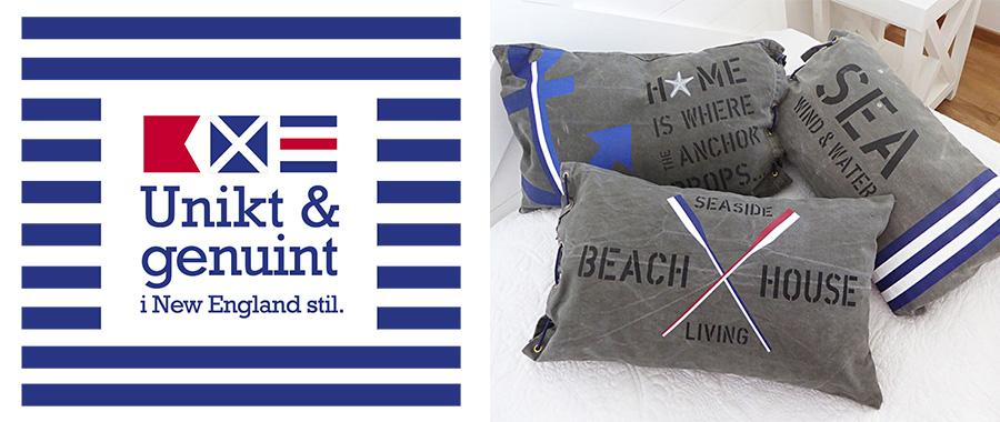 Kuddar med signalflaggor i unik och genuin New England stil.