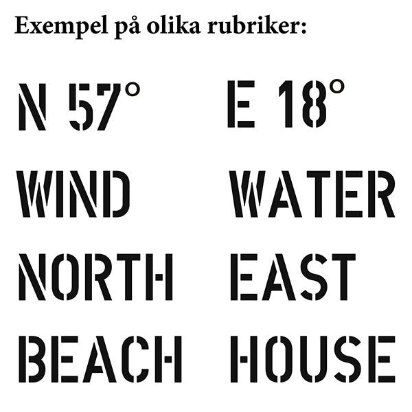 Olika rubrikförslag till New England ljuslyktor med motiv av signalflaggor i sliten vintage-stil