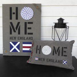 New England home tavlor och kuddfodral passar till all marin inredning i sliten canvas