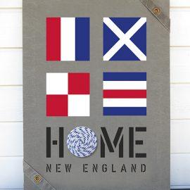New England home tavlor med signalflaggor passar till all marin inredning målade på sliten canvas
