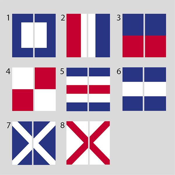 8 olika motiv av signalflaggor att välja till New England home ljuslyktor