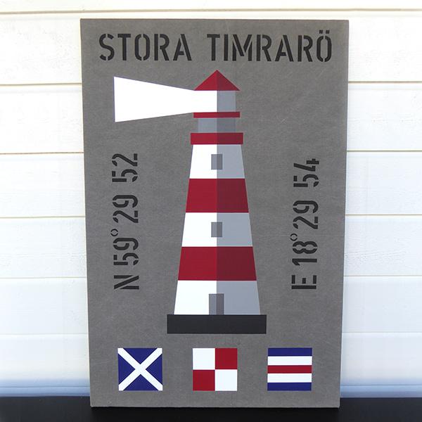 New England inspirerad tavla med fyr och signalflaggor och personliga koordinater