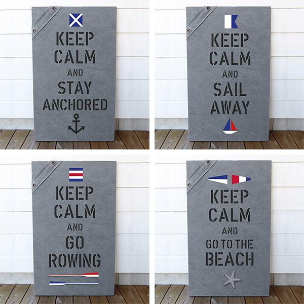Fyra olika New England tavlor i sliten canvas med keep calm och signalflaggor med valfria texter och format