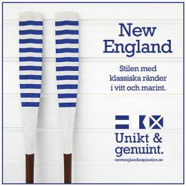 Åror i randigt i New England stil i vitt och marint.
