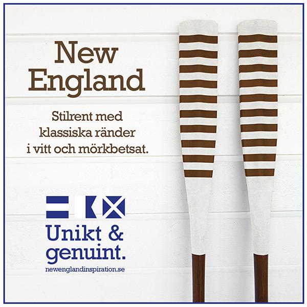 Randiga åror i New England stil i vitt och mörkbetsat.