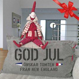 God jul önskar tomten från New England