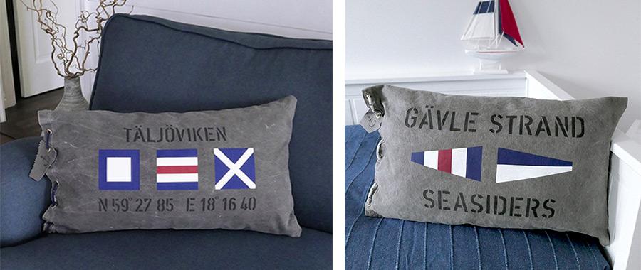 Kuddfodral i New England stil med signalflaggor och valfria texter.