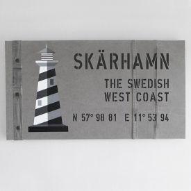New England tavla på grå canvas med fyrar som passar till dina marina inredningar.