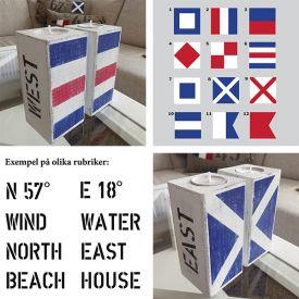 New England ljuslyktor med motiv av signalflaggor i sliten vintage-stil