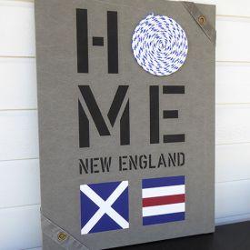 New England home tavlor passar till all marin inredning målade på sliten canvas