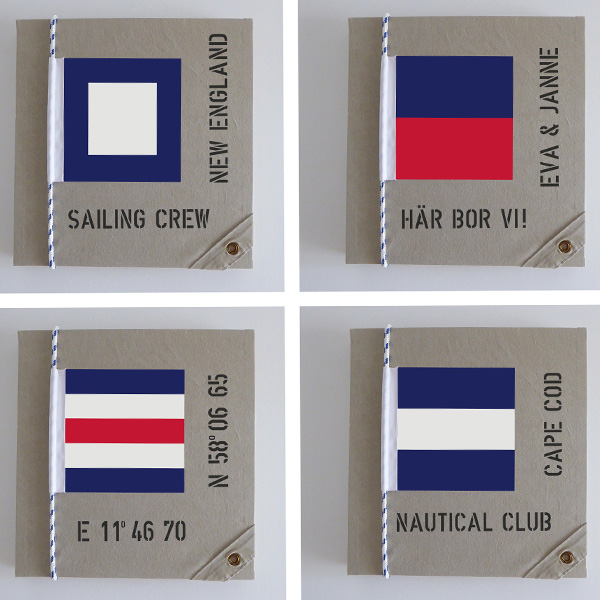 Fyra förslag på marina tavlor med olika signalflaggor och personliga texter.