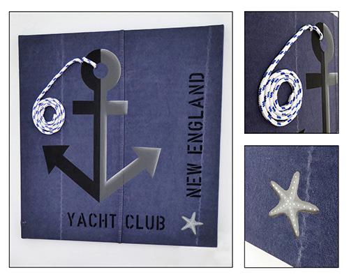 Effektfullt målat ankare i marin stil med valfri text, riktig tross och målad sjöstjärna.