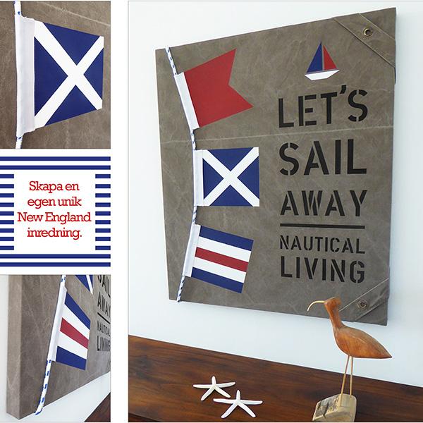 Signalflaggor passar till din New England inredning! New England tavla med tross och signalflaggor som passar marin heminredning.