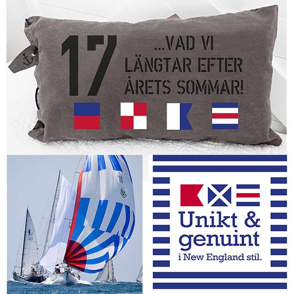 New England inspiration och inredning visar kudde med signalflaggor i marin stil